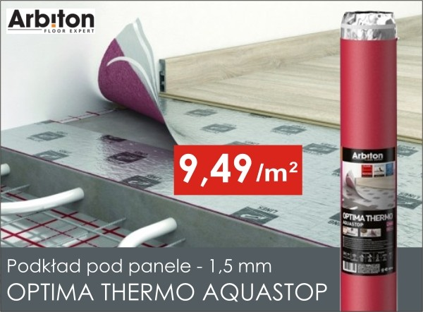 Podkład pod panele Optima Thermo Aquastop 1,5 mm w niskiej cenie!